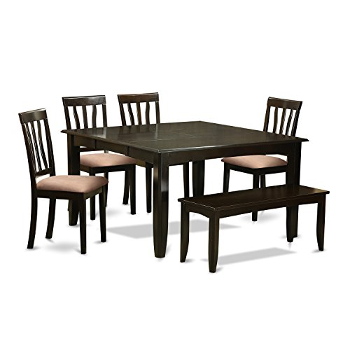 East West Furniture PFAN6-CAP-C 6Piece Formal Dining Set-Dining Room Table with Leaf & 4 Chairs Plus One Bench