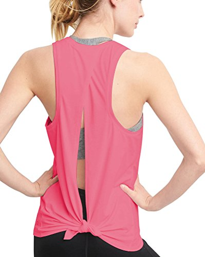 Mippo Womens Clothes Fashion 2019 Sexy Open Back Workout Tops Yoga Tank Tops Muscle Shirt Activewear Exercise Tops Sleeveless Running Sports Gym Clothes Pink XL (Best Workouts For 2019)