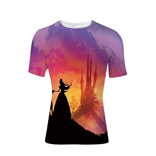 (T-Shirt Short Sleeves,Princess Magical Castle House Fairytale Dream,Mens Cool 3D Print)