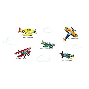 Sunny Decals Vintage Airplane Fabric Wall Decals (Set of 5)