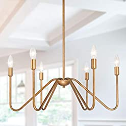 Farmhouse Ceiling Light Fixtures Log Barn Gold Chandelier Light Fixture, 6 Light Modern Chandelier, Hanging Ceiling Light with Candle Holder for Dining… farmhouse ceiling light fixtures