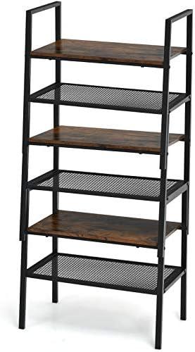 Giantex 6-Tier Storage Shelf Bookcase Stackable Ladder Rack W/ Metal Frame and Mesh Shelf Compact Kitchen Shelf