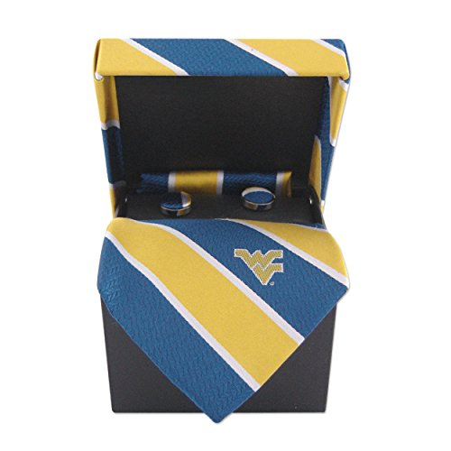 ZEP-PRO NCAA West Virginia Mountaineers Mens Woven Silk Repp Stripe Collegiate Logo Neckwear Box Set 1, Blue and Gold, One Size
