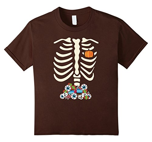 Kids Halloween Skeleton Candy Funny T shirt costume for kids 12 Brown