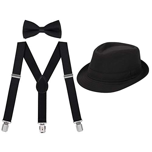 Old Gangster Hats (HDE Kids Adjustable Suspenders Boys Pre-Tied Bow Tie and Short Brim Fedora)