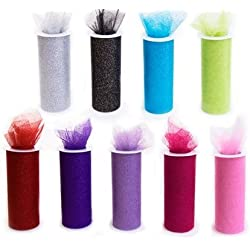 "*SALE* 9 GLITTER Tulle Rolls each one 6"" By 30 Ft"