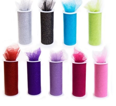 *SALE* 9 GLITTER Tulle Rolls each one 6