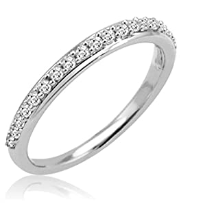 Amazon 10K White Gold Diamond Anniversary Ring 1 4ct available sizes 5 8 Jewelry