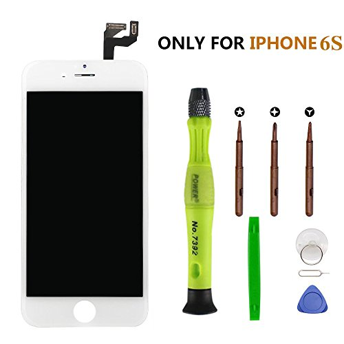 For mobile Phone 6s LCD Replacement screen(4.7 inch) with 3D Touch Screen Digitizer Fram Assembly Full Set + free Tools + Manual (white) by YBFQ