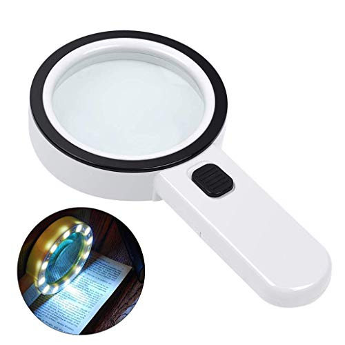 SCJS LED Light Optical Handheld Magnifying Glass, 5X Glass Lens for Reading, Reading Newspaper, Antiques, Textile, Circuit, Welding, Inspection, Jewelry, Exploration