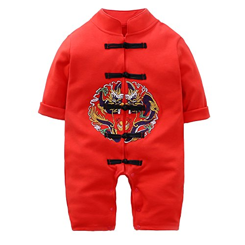 (Chinese Dragon Outfit Tang Suit For Baby Embroidery Style Long Romper Long Sleeve Tang)
