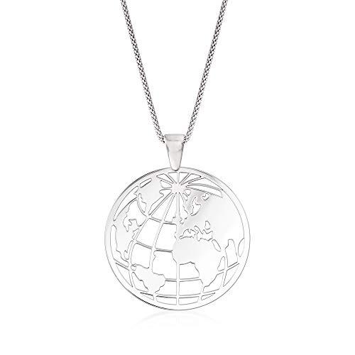 Ross-Simons Italian Sterling Silver Globe Pendant Necklace