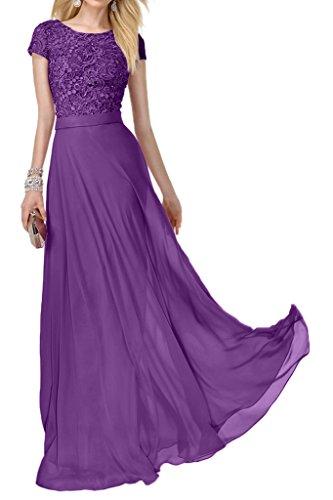 Lang Lila mia Abschlussballkleider Kurzarm Modern Spitze A linie Abendkleider La Chiffon Braut Partykleider 4nwUxx7