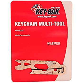 KEY-BAK Keychain Multi-Tool (Bottle Opener, Box Wrench (1/4, 5/16, AND 3/8), Flat Screwdriver, Mini Pry, Spoke Key and Ruler)