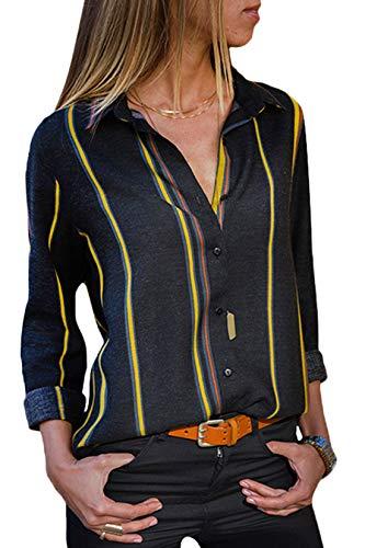 MQ Women's Blouses Button-Down Shirts Block Stripes V Neck B