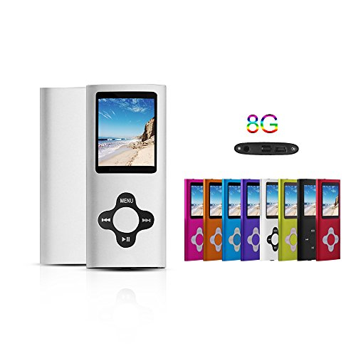 G.G.Martinsen Silver 8GB Versatile MP3/MP4 Player with Photo Viewer, Mini USB Port Slim 1.78 LCD, Digital MP3 Player, MP4 Player, Video Player, Music Player, Media Player