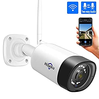 Hiseeu 1080P Security Camera, Outdoor Two-Way Audio Surveillance Cameras Bullet IP Camera Waterproof,Motion Detection Day& Night Vision with Power Adapter Compatible with Hiseeu Wireless Camera System