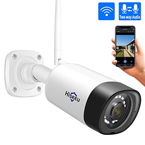 Hiseeu 1080P Security Camera, Outdoor Two-Way Audio Surveillance Cameras Bullet IP Camera Waterproof,Motion Detection Day& Night Vision with Power Adapter Compatible with Hiseeu Wireless Camera System (Camera Wireless Adapter)
