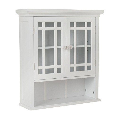 Elegant Home Fashions Albion 22 in. W x 24 in. H x 7 in. D Bathroom Storage Wall Cabinet with 2 Glass Doors in White by Elegant Home