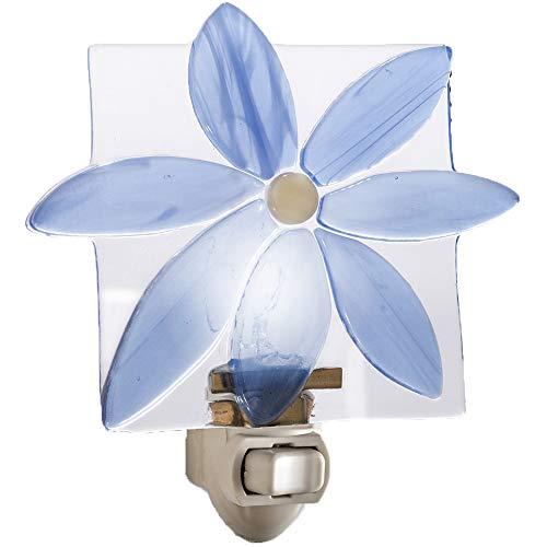 - J Devlin NTL 150 Blue Flower Night Light Decorative Fused Glass Bathroom Bedroom Kitchen Wall Plug in