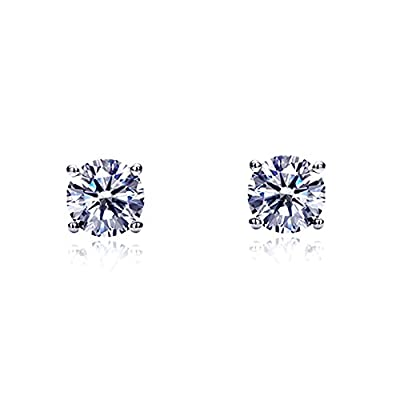 14K White Gold Round Cubic Zirconia Basket Setting Solitaire Stud Earrings (Other Sizes) by Double Accent