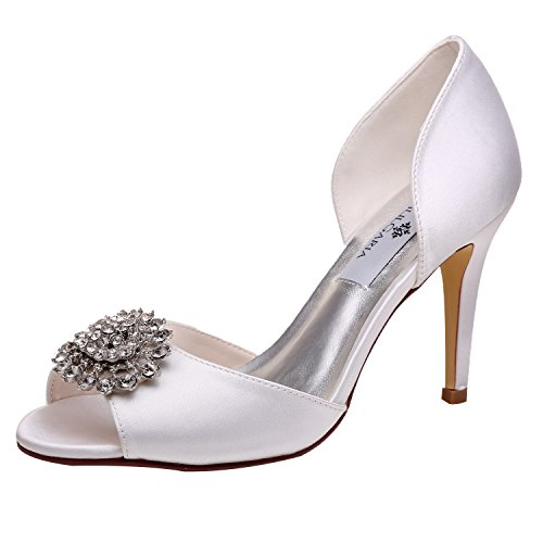 M MULGARIA Women High Heel Peep Toe D'Orsay Pumps Rhinestones Satin Evening Prom Wedding Shoes (JM-5623-EU 36/5.5B(M) US White) - Satin Peep Toe Pump Heel