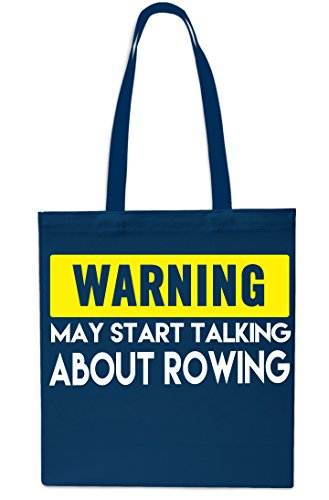Warning May Start Talking About Rowing Tote Shopping Gym Beach Bag 42cm x38cm, 10 litres-NAVY NAVY