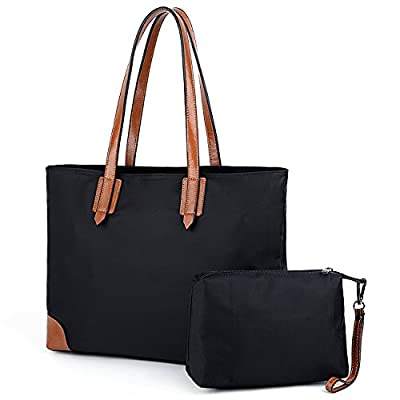 YALUXE Women's Stylish Leather Oxford Nylon Tote Bag Set with large Wrist Purse Travel Shoulder Bag