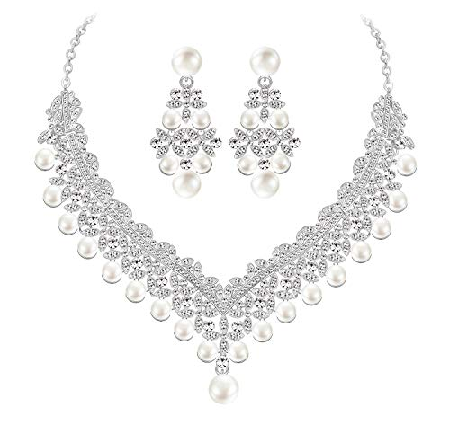 - MOOCHI Silver Plated Scarf-Shape Clear Crystal & Simulated Pearls Necklace Earrings Jewelry Set