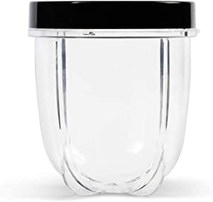 Magic Bullet MBM-U0231 12 oz Short Cup with Resealable Lid, Clear/Black