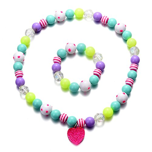 Beaded Heart Necklace Set - Oaonnea Heart Pendant Chunky Bubblegum Beaded Necklace Bracelet Set