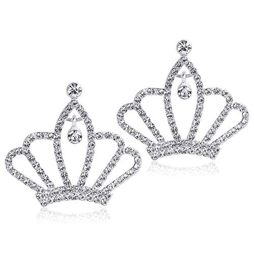 DIY-SHINNY 10 Pcs Girl Princess Rhinestone Tiara Crown Use for Wedding Decoration, Princess Party Favors, Tiaras for Girls and DIY Embellishments(Silver)