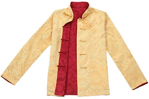 Blingland Chinese Traditional Uniform Top KungFu Shirt for Men US M Asia L-Red+Gold Photo #3