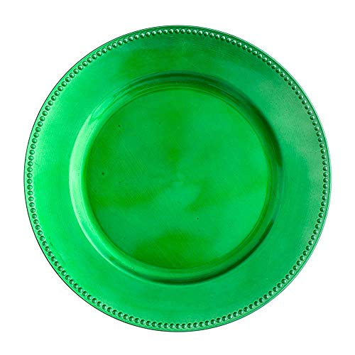 """Richland Charger Plate Beaded Round 13"""" Forest Green Set of 12"""