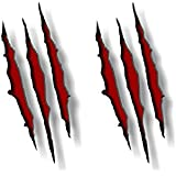 """2 RIPPED CLAW Marks 9"""" Vinyl Sticker Decals Dinosaur Monster Scratches Jurassic Park Jeep Decal Stickers (Red)"""