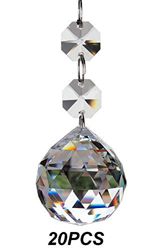 Amazon fushing 20pcs crystal glass ball chandelier prisms fushing 20pcs crystal glass ball chandelier prisms pendants parts beads 30mm clear mozeypictures Image collections