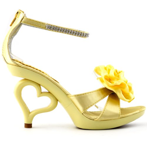 SHOW STORY Light Yellow Removable Flower Ankle Strap Bride Wedding Sandals Shoes,SM33101LY40,8.5US,Light Yellow