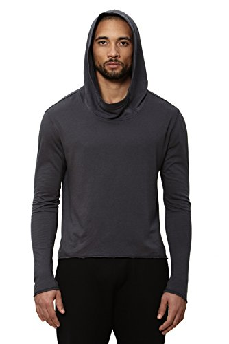 UNCOMMON THRDS Mens Asymmetric Hem Long Sleeve Cowl Hoodie Grey - Large by UNCOMMON THRDS