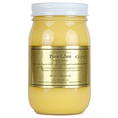 Grassfed Organic Ghee - GMO Free - Made in USA (Clarified Butter) - Glass Jar