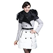 Delicol women girl's ultra warm high collar slim fit long down coat with racoon fur hood and belt
