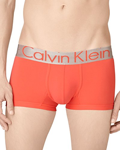 Calvin Klein Men's Steel Underwear Microfiber Low Rise Trunks (Orange, (Calvin Klein Steel Trunks)