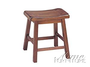 "Set of 2 18""H Counter Height Stools Walnut Finish"