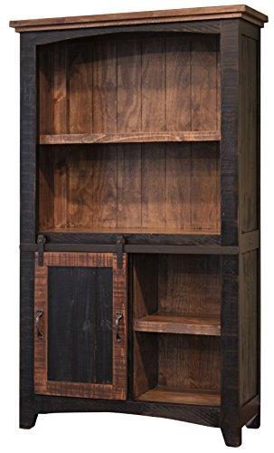 Anton Black Sliding Barn Door Bookcase