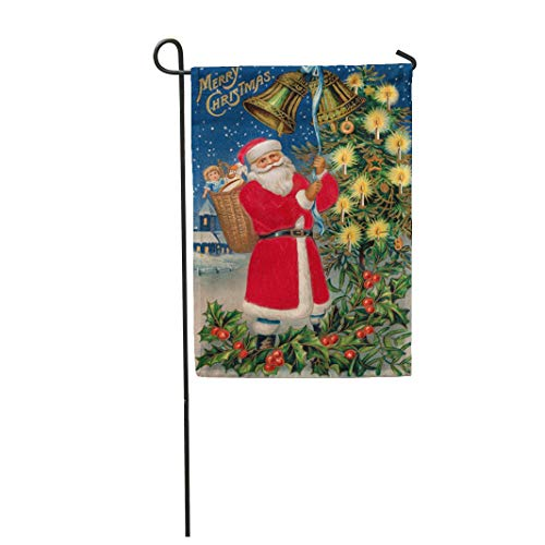 (Tarolo Decoration Flag Red Nicholas Merry Christmas Santa Claus Rings Bells in The Village Circa 1908 Vintage Old Thick Fabric Double Sided Home Garden Flag 12