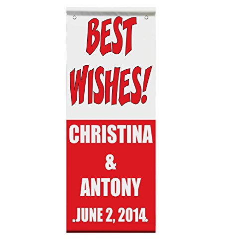 Best Wishes Custom Wedding Date Double Sided Vertical Pole Banner Sign 24 in x 36 in w/ Pole Bracket by Fastasticdeals