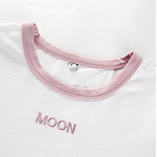 Courtes Fille Moon Femme O Ete T shirt Manches Blanc Bustier Chemisier Blouse Top Col Imprimé Angelof fPxvpqn