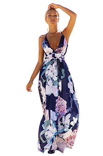 Fashionme Women's Sexy Printed Flora Dress White Deep V Neck Backless Party Dress (Blue, L) ()