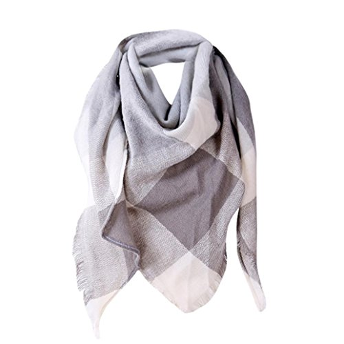 ChainSee Women Autumn Plaid Light Soft Wool Lattice Triangle Wraps Muffler Scarf (Gray)