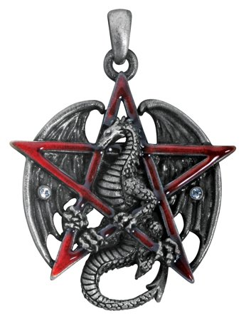 YTC Summit Gothic Red Pentagram Star Dragon Pendant Necklace Jewelry Accessory