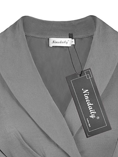 Ninedaily Sexy Shirt for Women, Office Tops V Neck Short Sleeve Tops Party Business Wear Tee Gray Size XL by Ninedaily (Image #2)